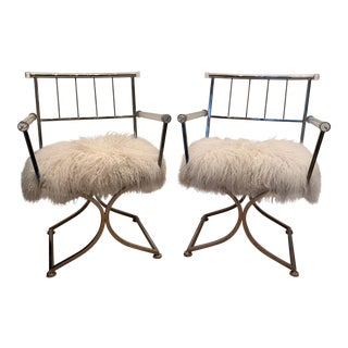 1960s Vintage Lucite Directors Mongolian Sheepskin Upholstery Chairs- A Pair For Sale