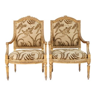 18th Century Vintage Italian Giltwood Armchairs - a Pair For Sale