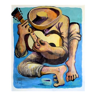 """El Guitarrista Del Campo"" - Large Geoff Greene Painting For Sale"