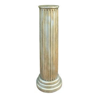 Early 20th Century Vintage Gilded Distressed Patina Wood Column For Sale