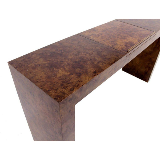 Mid Century Burl Wood Walnut Adjustable Lift Tilt Top Console Table For Sale - Image 9 of 10