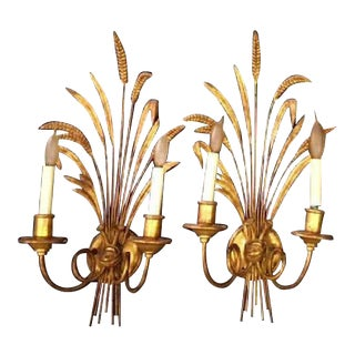 Italian Gilt Wheat Sheaf Sconces - A Pair For Sale