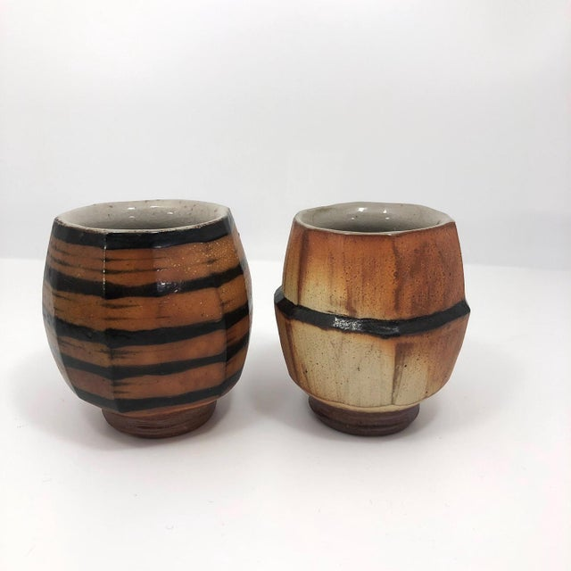 Asian Japanese Style Faceted Yunomi Studio Pottery Cups, Marked - a Pair For Sale - Image 3 of 13
