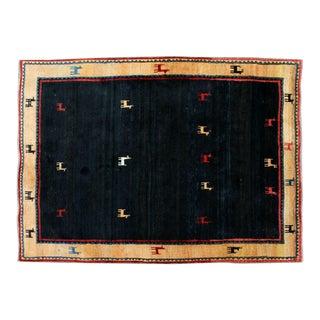 Contemporary 100% Wool Iranian Area Rug Carpet Llama Design Border Gabbeh For Sale