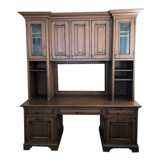 Custom Built Desk With Storage Cabinetry For Sale