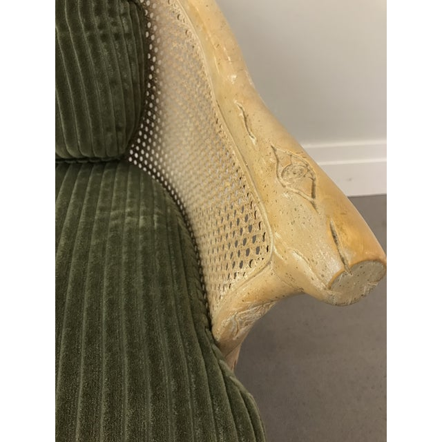 1960s Faux Bois / Cane Arm Chair With Green Corduroy For Sale - Image 9 of 13