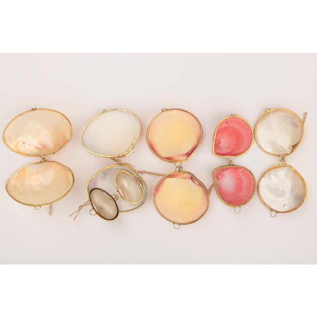 White Brass Trimmed Shell Ornaments, Set of 6 For Sale - Image 8 of 9