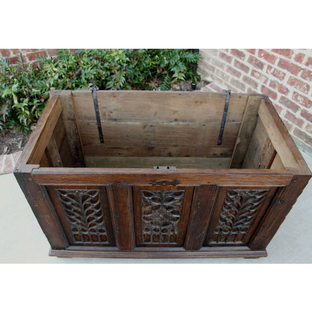 Metal Antique French Oak 19th Century Gothic Coffer Chest Blanket Box Trunk For Sale - Image 7 of 12