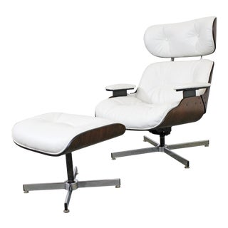 Mid-Century Modern Selig Eames Leather Lounge Chair & Ottoman For Sale