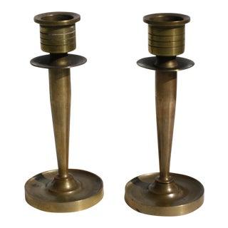 Art Deco Petite Modernist Brass Candleholders - a Pair