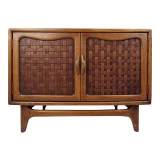 Mid-Century Modern Basket Weave Cabinet by Warren Church for Lane For Sale