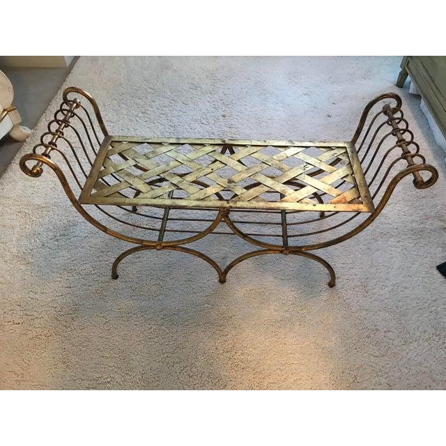 Italian Hollywood Regency Gilt Metal Bench For Sale - Image 4 of 5