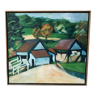 Vintage Oil Painting - Old Farm, Signed