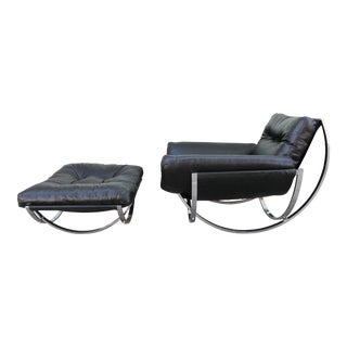 Milo Baughman Rocking Lounge Chair and Ottoman For Sale