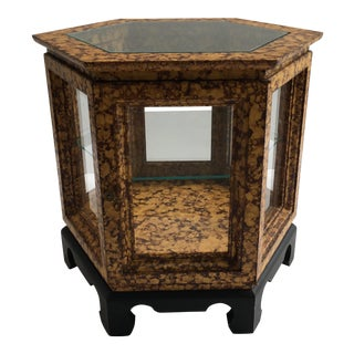 1970s Asian Style Hexagonal End Table With Display For Sale