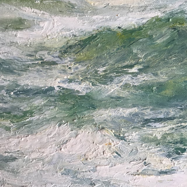 """Breaking Waves"" Framed Oil on Canvas Painting For Sale - Image 9 of 10"