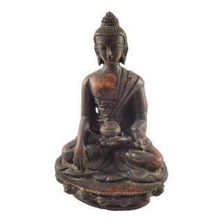 Vintage Seated Buddha Cast Statue For Sale