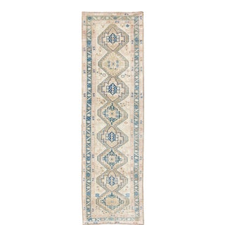 Antique Karabagh Caucasian Rug in Teal, Ivory, Cream & Nude With Stacked Medallions For Sale