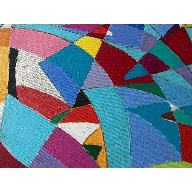Vintage Geometric Abstract Painting #42 - Image 4 of 6
