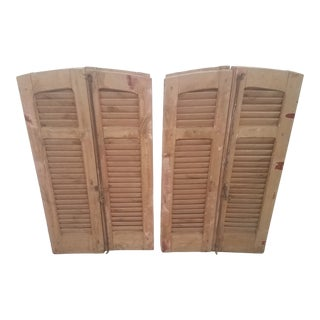 Antique Curved Wooden Shutters - Set of 4 For Sale
