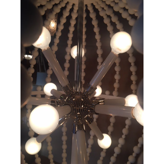 2010s White Circular Modern Chandelier For Sale - Image 5 of 6