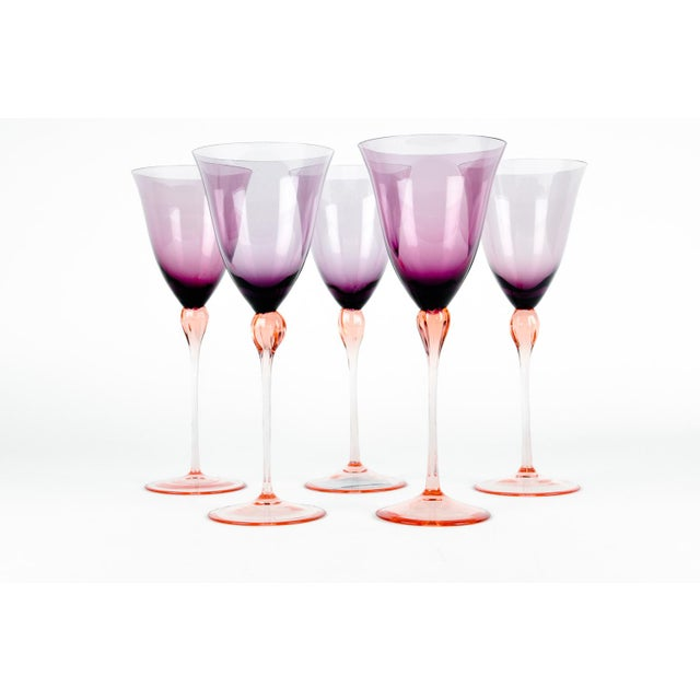 Contemporary Vintage Murano Amethyst Wine Glasses For Sale - Image 3 of 8