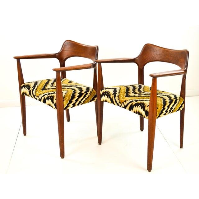 Mid-Century Modern Danish Teak Arm Chairs - A Pair - Image 4 of 10