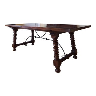 Spanish Revival Refectory Trestle Dining Table For Sale