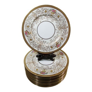 Antique Coalport Bone China Encrusted Gold Scroll Roses 12 Service Chargers For Sale