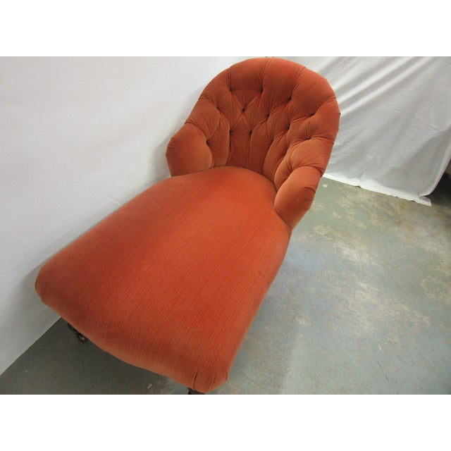Hancock & Moore 1970's Vintage Hancock and Moore Orange Velvet Chaise For Sale - Image 4 of 9