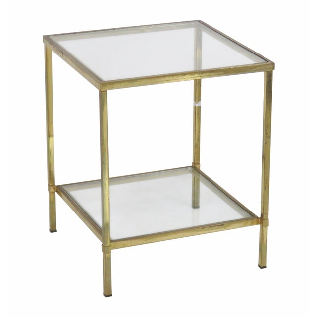 Mid-Century Modern Brass & Glass Side Table - Image 1 of 4