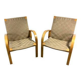 Mid Century Bruno Mathsson Style Webbed Lounge Chairs-A Pair For Sale