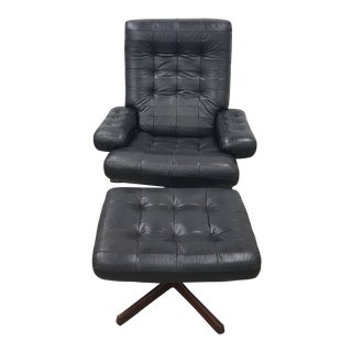 1960s Gote Mobler Nassjo Black Leather Chair & Ottoman- a Set. For Sale