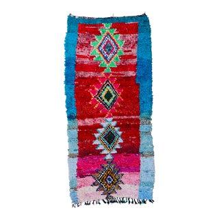 Vintage Boucherouite Wool Rug For Sale