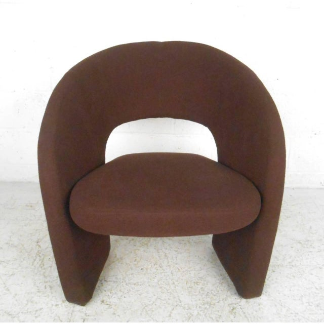 Contemporary Modern Sculptural Lounge Chair with Ottoman - Image 4 of 11