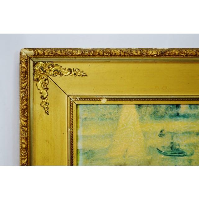 """Vintage Gold Gilt Framed Renoir """"Boating on the Seine"""" Print on Board For Sale - Image 4 of 13"""