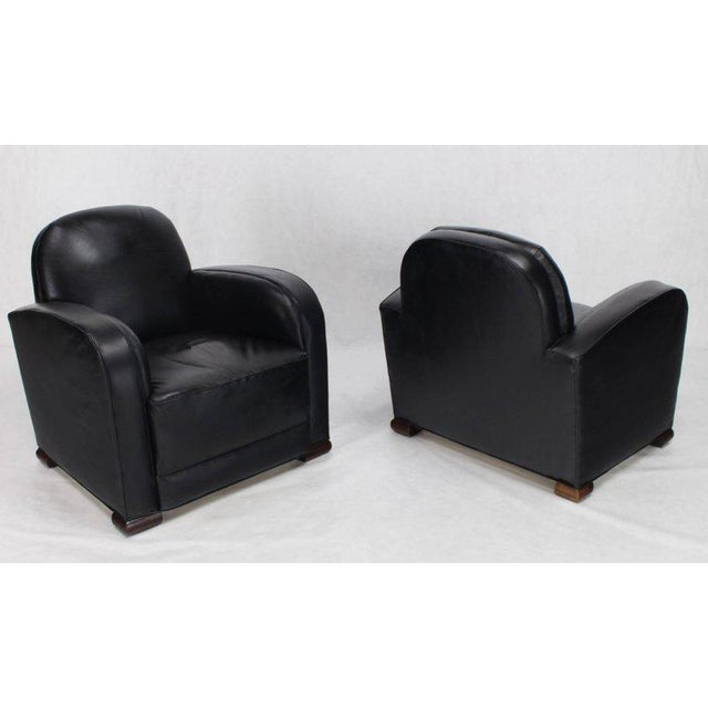 Mid 20th Century Deco Style Black Leather Thick Arm Rests Lounge Tank Chairs - a Pair For Sale - Image 5 of 10