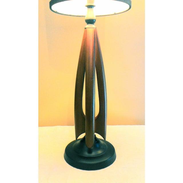 Mid-Century Modern Atomic Danish Wood Mini Lamp - Image 8 of 11