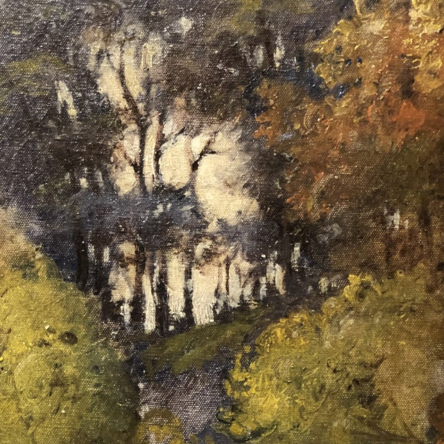 Brown Autumn Forest Oil on Canvas Early 20th Century For Sale - Image 8 of 11