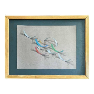 Vintage Drawing Abstract Still Life For Sale