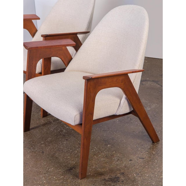 1960s Spectacular American Walnut Armchairs- A Pair For Sale - Image 5 of 11