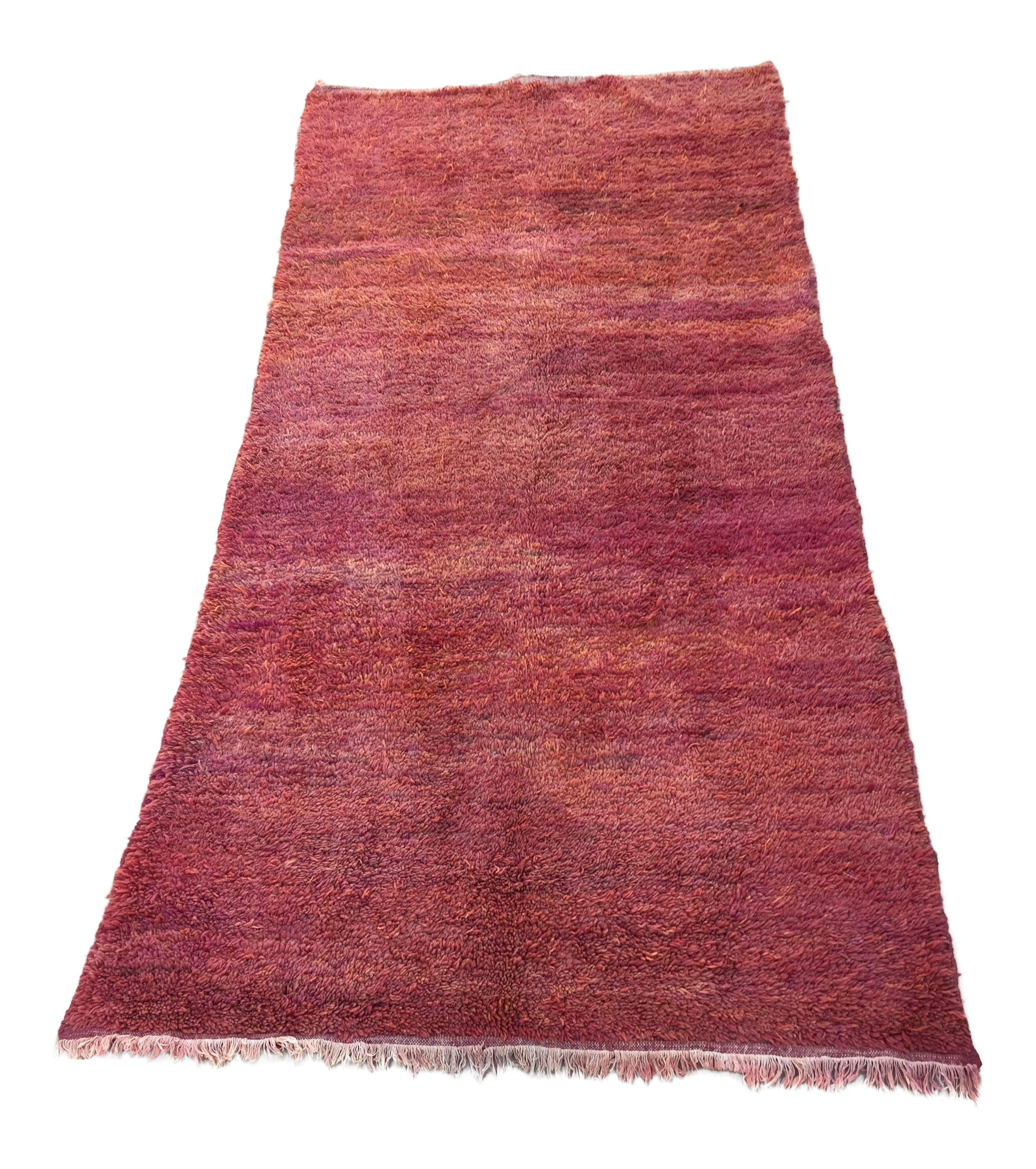 Moroccan Red Shaggy High Pile Wool Tribal Rug Bed Of Red Roses