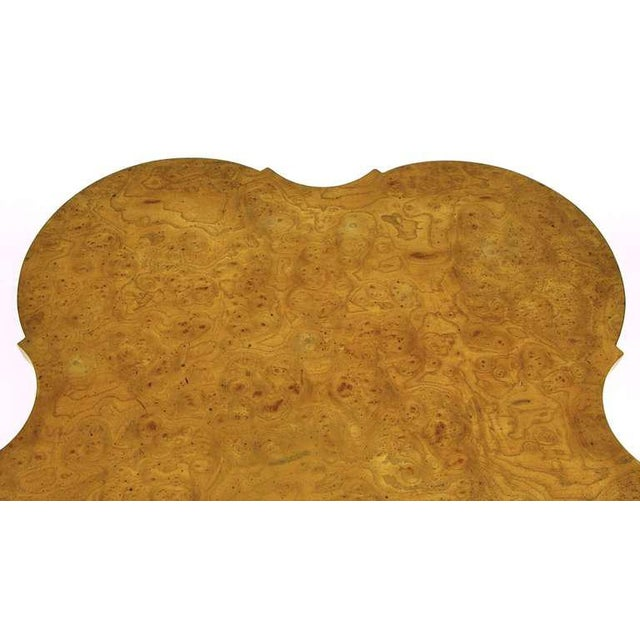 Gold Mastercraft Empire Style Bronze and Burl Quatrefoil End Table For Sale - Image 8 of 10