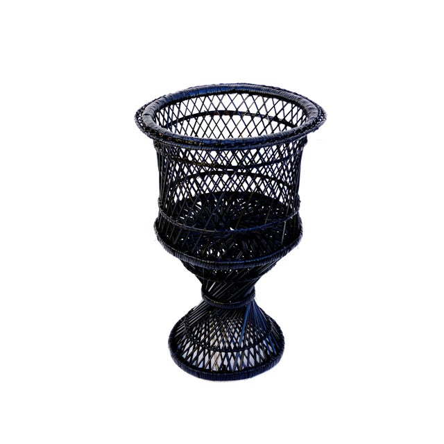 Boho Chic Mid-Century Black Woven Rattan Plant Stand For Sale - Image 3 of 11