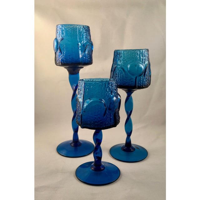 Mid-Century Modern Vintage Stelvia Early 1960s Antiqua Candle Holders Designed by Blenko's Wayne Husted - Set of 3 For Sale - Image 3 of 11