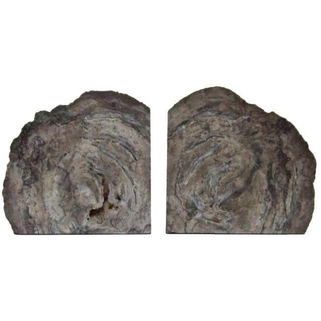 Vintage Gray Geode Bookends - A Pair - Image 1 of 7