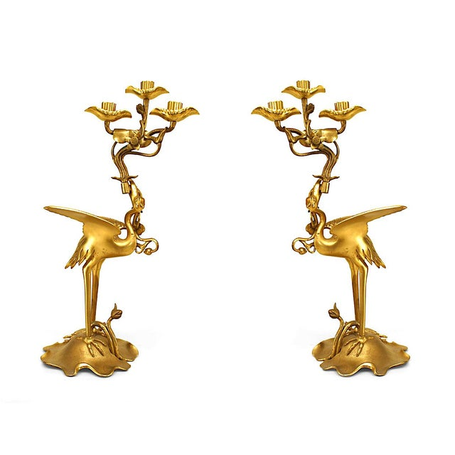 Bronze Pair of 19th Century English Regency Bronze Doré Heron Candelabra For Sale - Image 7 of 7