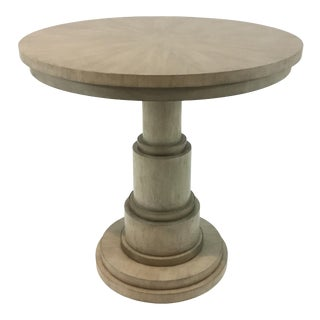 Thomasville Transitional Orita Primavera Wood Round Lamp/Side Table For Sale