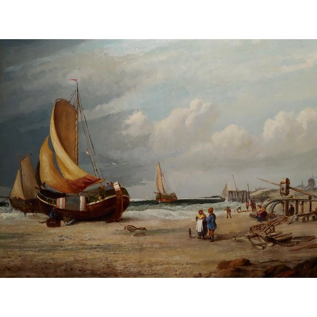 "19th Century ""Fishing Boats"" Large Oil Painting by C.H. Cook, 1878 For Sale - Image 4 of 12"