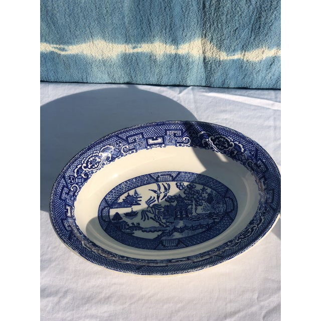 Blue 1930s Vintage Blue Willow Ware Serving Bowl 1930's by Homer Laughlin For Sale - Image 8 of 9